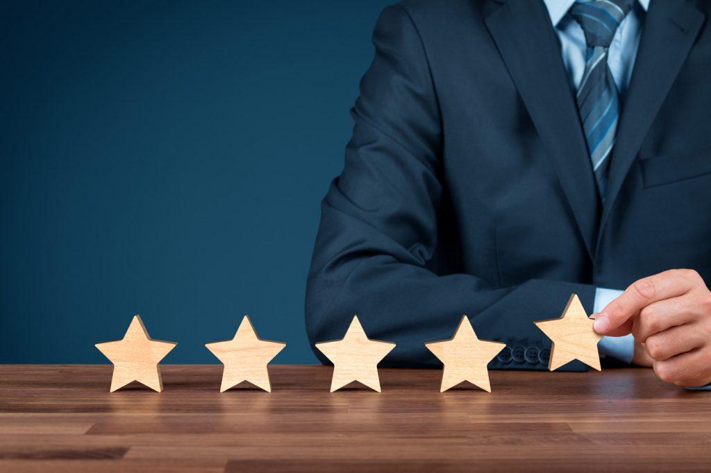 marketing beoordelen met vijf sterren